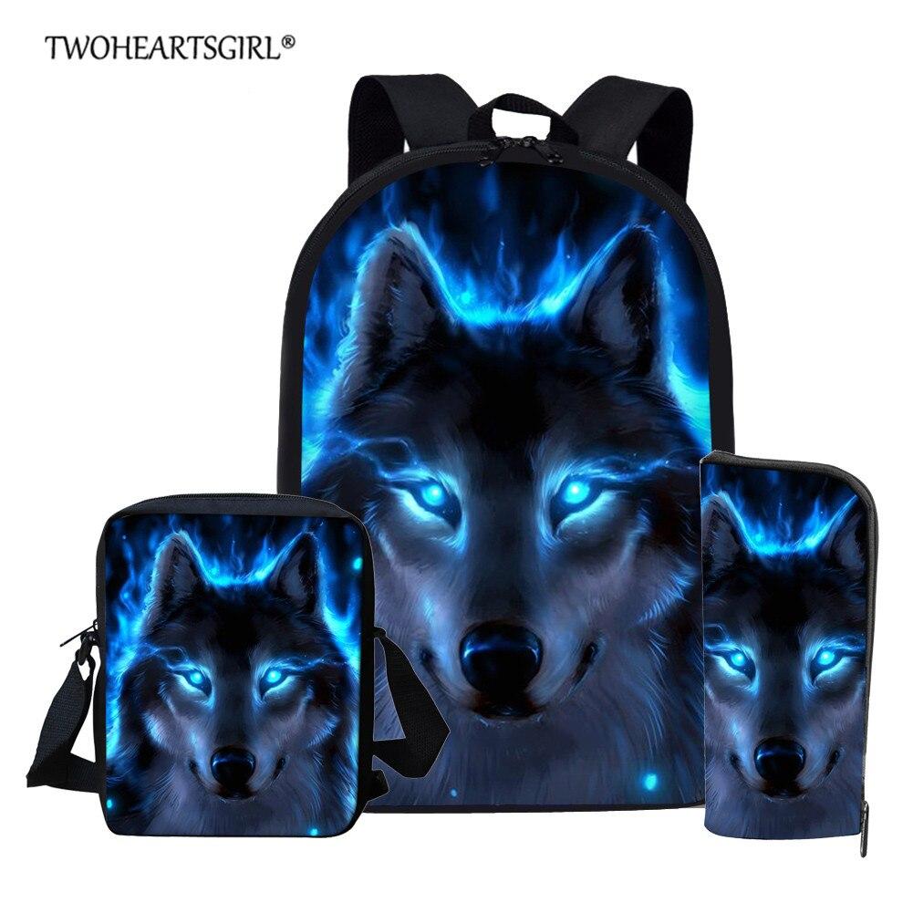 Twoheartsgirl mavi kurt okul gençlere yönelik sırt çantası erkek kız çocuk okul çantası seti öğrenci kitap çantaları Mochila Escolar
