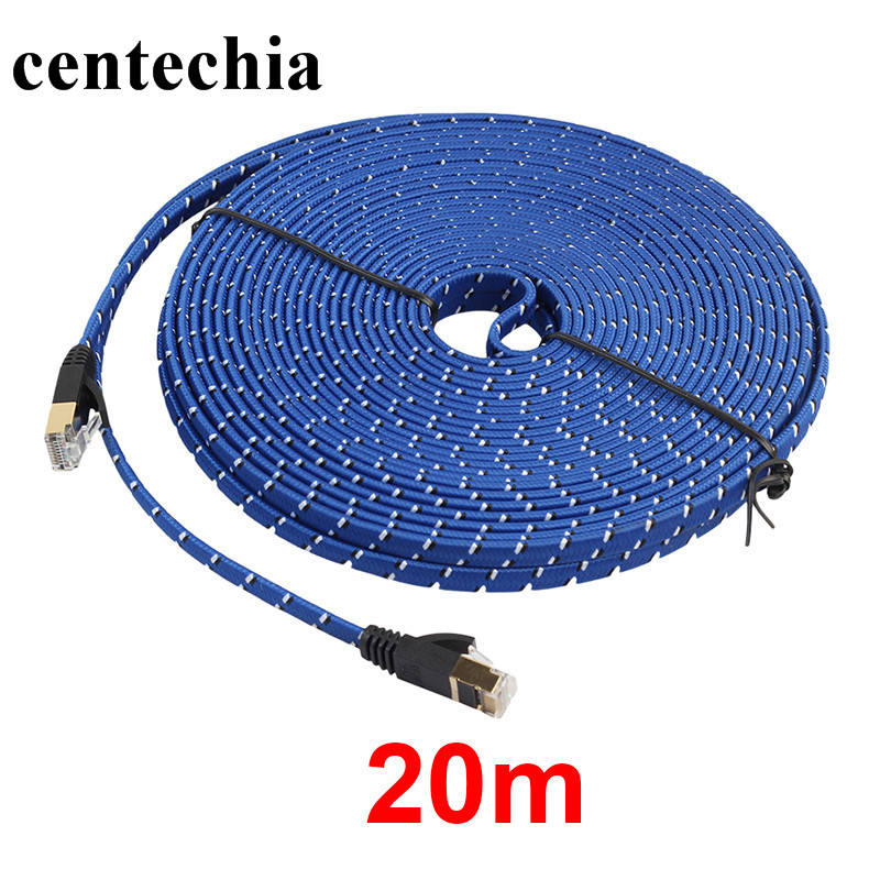 Centechia New Arrival Durable 20M CAT7 Ethernet Internet Network Patch LAN Flat Cable Cord For Computer Laptop Hot Sale one piece punk style snake embellished earring for women