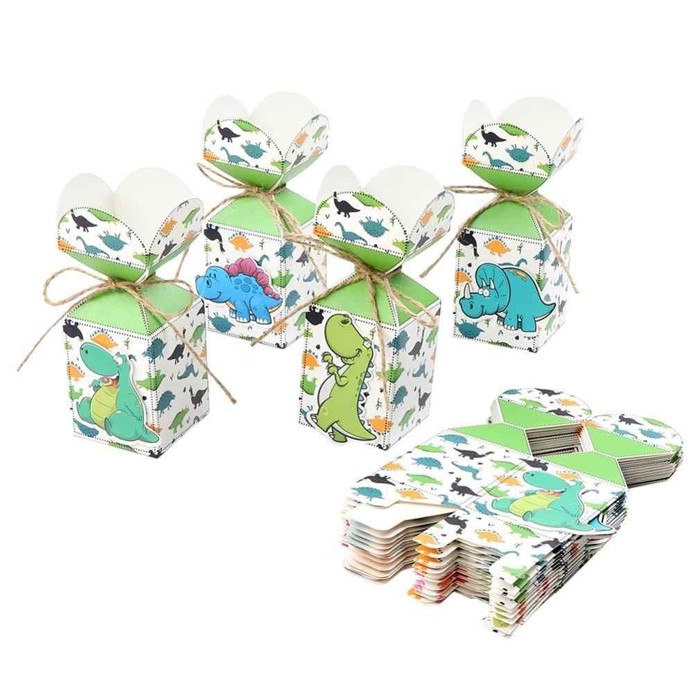 Nuestra fiesta de dinosaurios caliente suministros 12 Uds bolsa de regalo para caramelos Animal jungla cumpleaños fiesta decoración fiesta de bienvenida para el futuro bebé niños regalo dinosaurio tema