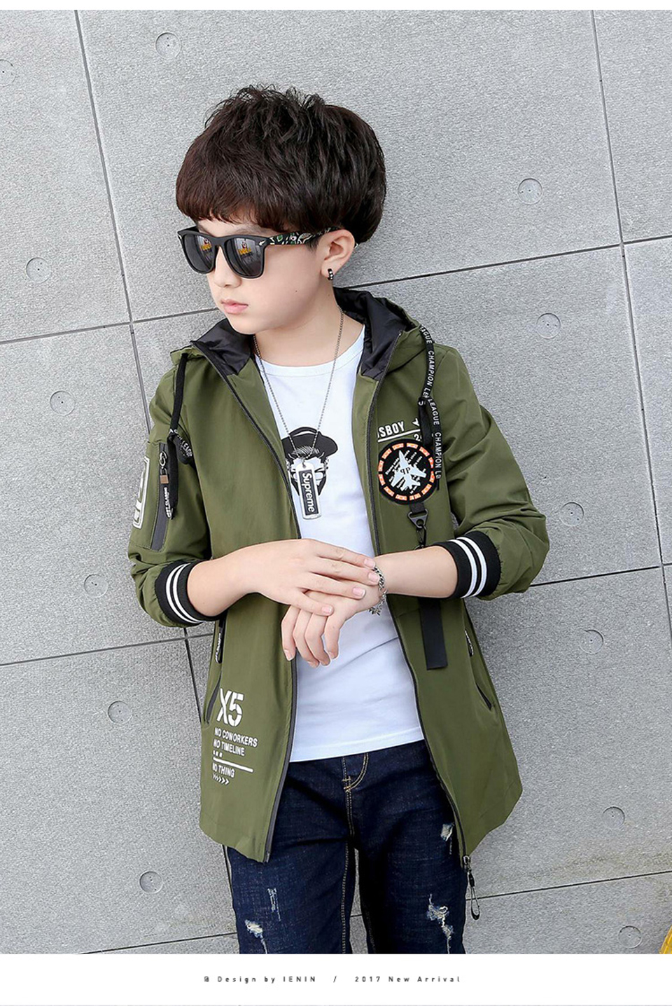 5f44bf86ff62 Kids Trench Coats For Boys Long Outerwear Spring Fashion Hooded ...