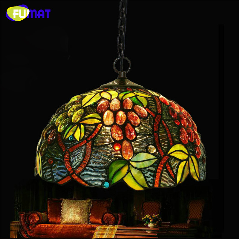 FUMAT Stained Glass Pendant Lamp Tiffany Grape Glass Suspension Lamp Living Room Dining Room Restaurant  LED Bar Pendant Lights fumat stained glass pendant lights garden art lamp dinner room restaurant suspension lamp orchids rose grape glass lamp lighting