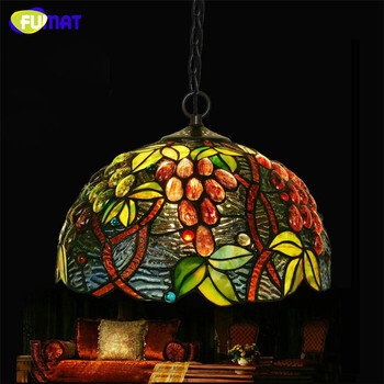 FUMAT Stained Glass Pendant Lamp Tiffany Grape Glass Suspension Lamp Living Room Dining Room Restaurant  LED Bar Pendant Lights modern pendant lights spherical design white aluminum pendant lamp restaurant bar coffee living room led hanging lamp fixture
