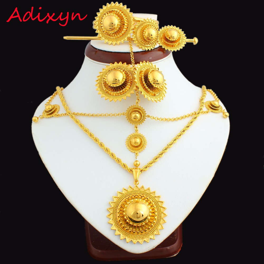 NEW Ethiopian Jewelry Set 24k Gold Color Hair Chain/Pendant /Chain/Earing/Ring/Hair pin/Bangle Eritrea African Wedding itemNEW Ethiopian Jewelry Set 24k Gold Color Hair Chain/Pendant /Chain/Earing/Ring/Hair pin/Bangle Eritrea African Wedding item