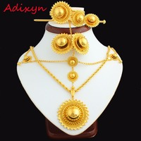NEW Ethiopian Jewelry Set 24k Gold Plated Hair Chain Pendant Chain Earing Ring Hair Pin Bangle
