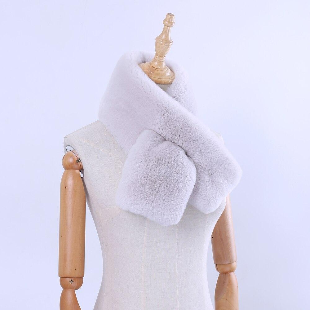 2019 Top Level Quality Double-Faced Women's Winter Real Rex Rabbit Fur   Scarf     Wraps   Girl Natural Fur   Wraps   Muffler Headerchief