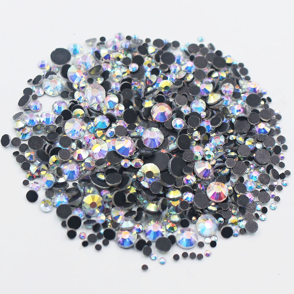 DMC Glass Rhinestones 2500pcs/lot CrystalAB-G Color Glue Back Iron On Stones And Crystals Strass Hotfix Rhinestones For Clothes