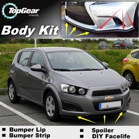 Bumper Lip Lips For Chevrolet Aveo T200 T250 T300 2002~2015 / Top Gear Shop Spoiler For Car Tuning / TOPGEAR Body Kit + Strip