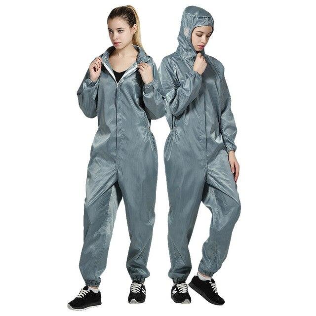 Uomini donne Anti-statica Abbigliamento Tute Con Cappuccio antipolvere Per  Camere Bianche Indumenti Fabbrica di 75998b5ce28