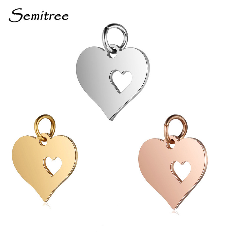 Semitree 5pcs/lot Stainless Steel Heart Charms Pendant