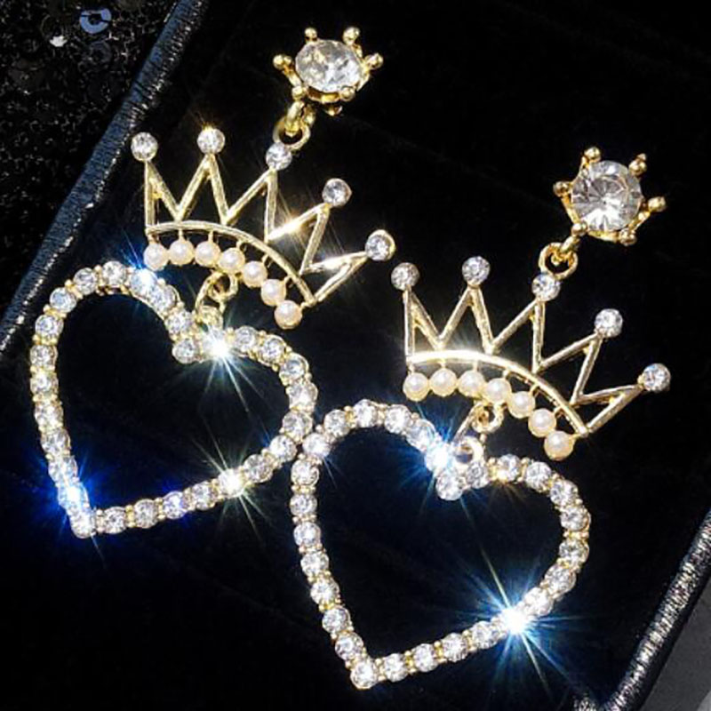 Fashion Lady Gold Color Crystal CZ Zircon Jewelry Crown Drop Earrings For Women Girls Gift Brincos