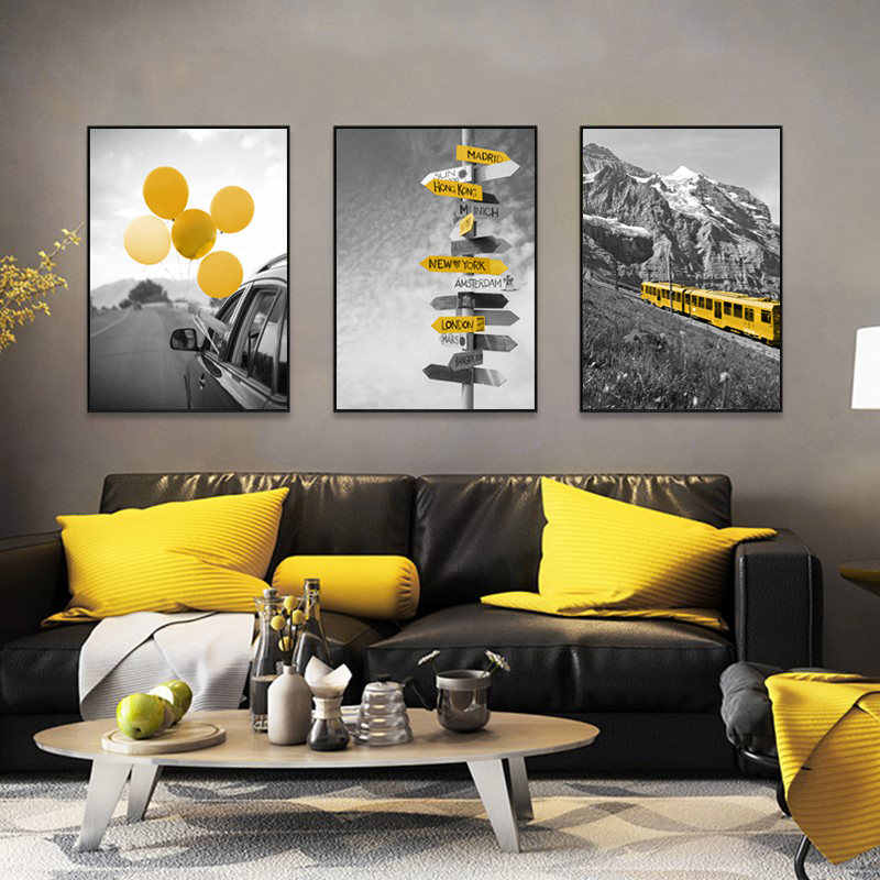 Black and White Scenery Photography Picture Home Decor Nordic Canvas Painting Wall Art Print Yellow Style Poster for Living Room