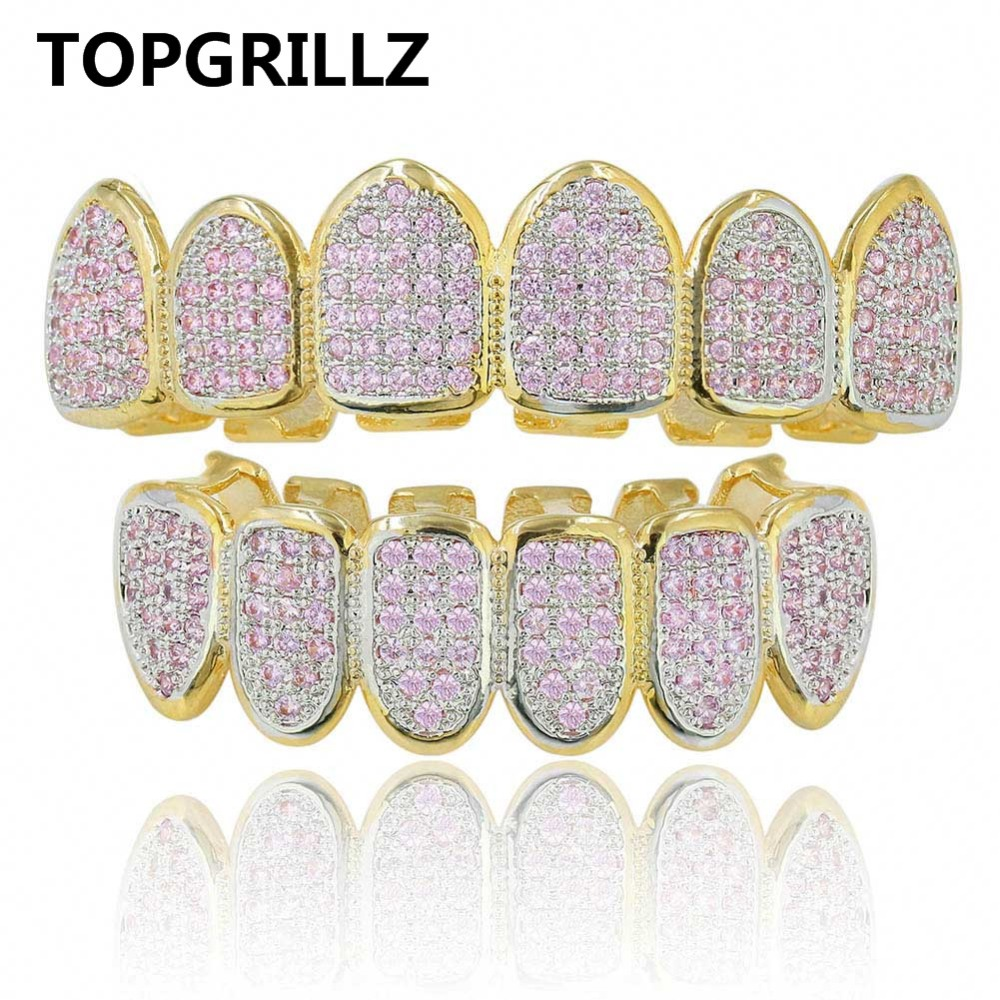 TOPGRILLZ New Custom Fit Gold Color Pink Micro Pave Cubic Zircon Top&Bottom Teeth Grillz HipHop Golden Grills For Christmas Gift