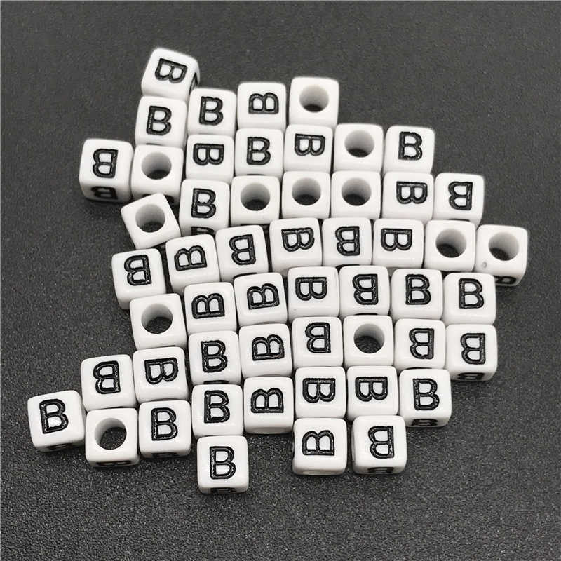 100pcs 6x6mm 26 Letter Beads Square Shape Alphabet Letter Beads Charms Bracelet Necklace For Jewelry Making Accessories