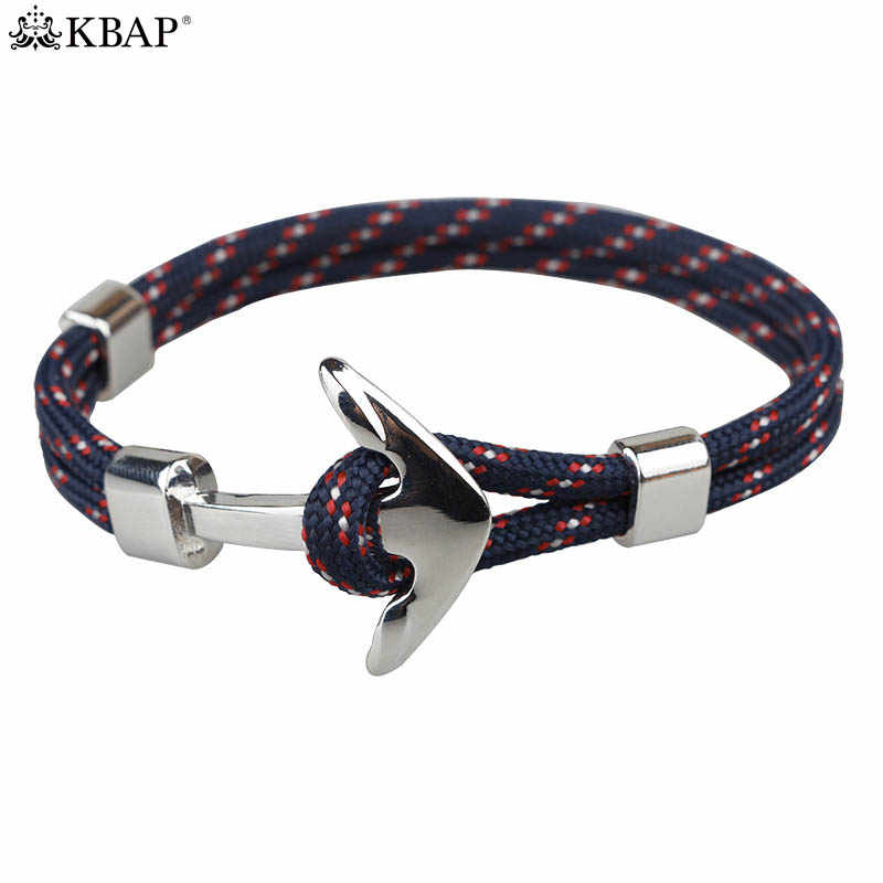 44466b32da61 KBAP los hombres de las mujeres de plata ancla cuerda pulsera brazalete  brazaletes militar náutica camuflaje