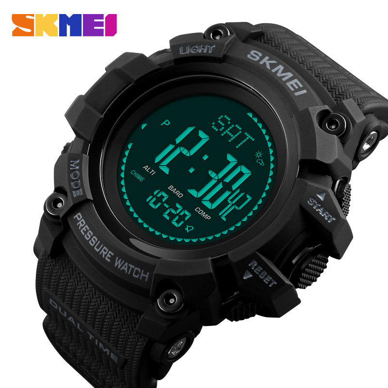 SKMEI Men Sport Watches Countdown Pressure Compass Wristwatches Alarm Chrono Digital Watch Waterproof Relogio Masculino 1358