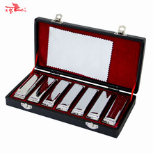 Harmonica SWAN Bluesband 7 Piece Blues Harp Diatonic Harmonica Set w / Case + ผ้าเช็ดทำความสะอาด