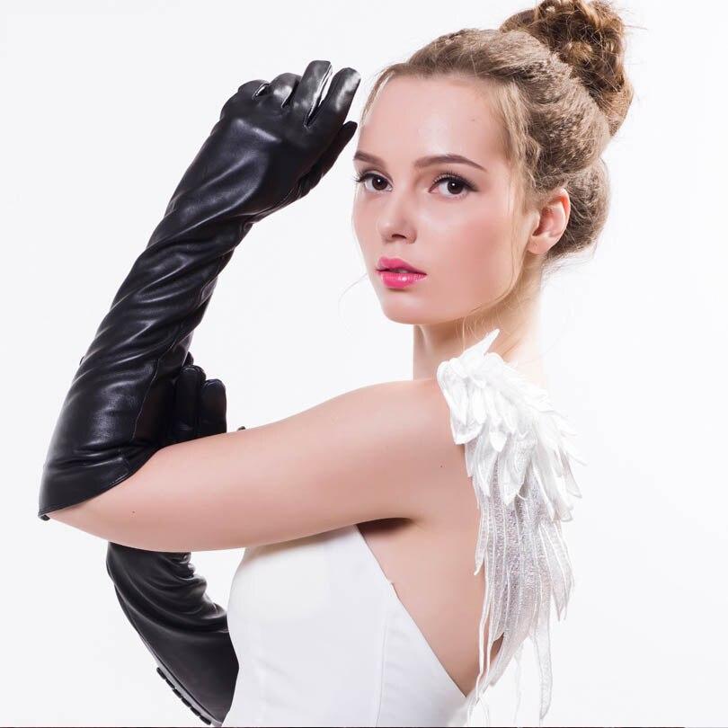 Longs gants femme en peau de mouton véritable noir solide coude gants en cuir véritable & mitaines 2017 hiver vrais gants de fourrure de mouton pour les femmes