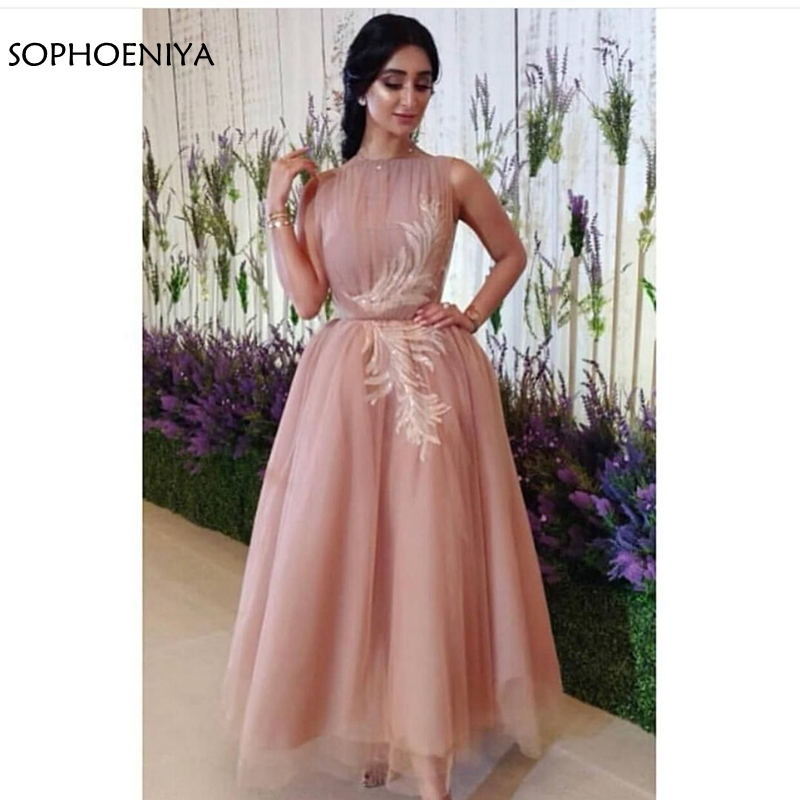 New Arrival Pink Tulle Dubai Arabic Evening Dress 2020 Lace Appliques Evening Gown Abiye Formal Dress Party Robe De Soiree