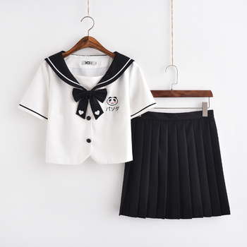 Navy sailor collar style suit school uniform set tops+ skirt student Summer uniforms female Panda embroidery cosplay costumes