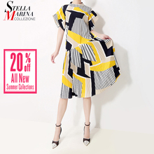 New 2019 Korean Style Women Summer Sundress Yellow Striped Printed Female Cute Midi Casual Party Club Dresses Robe Femme 5013