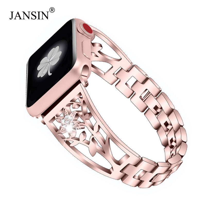 JANSIN New Diamond Watch Band For Apple Watch 38mm 42mm 40mm 44mm Bracelet Stainless Steel Strap Women Wristband For IWatch Band