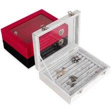 Venta al por mayor gris / negro / rosa de terciopelo caja de almacenamiento caja con tapa de vidrio para anillo del pendiente del colgante de la nueva llegada