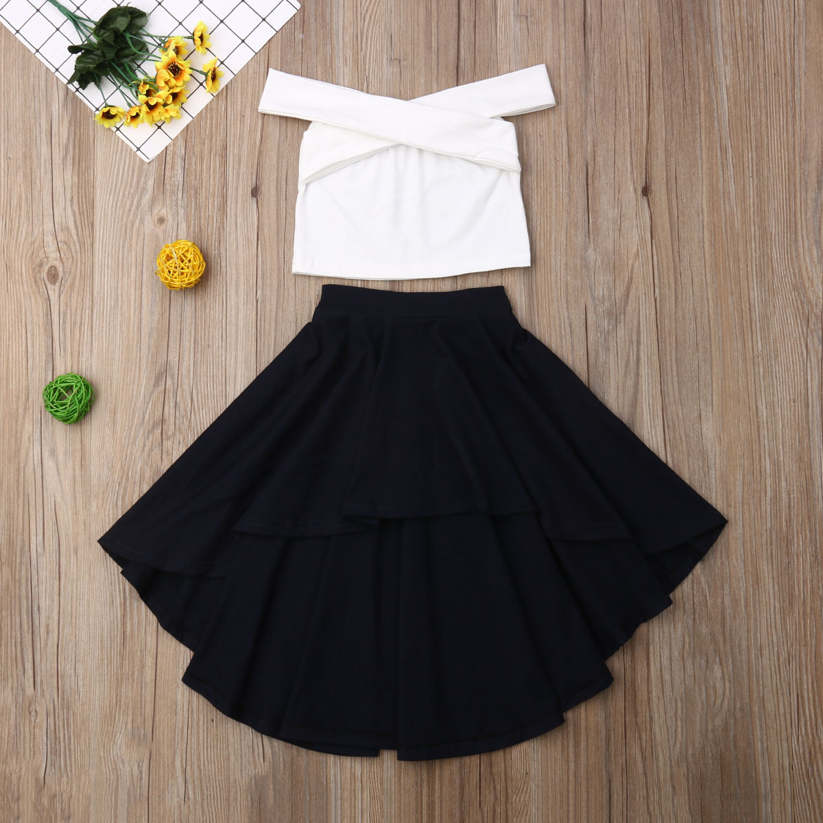 Emmababy Summer Toddler Baby Girl Clothes Solid Color Off Shoulder Vest Tops Ruffle Skirt 2Pcs Outfits Clothes Summer
