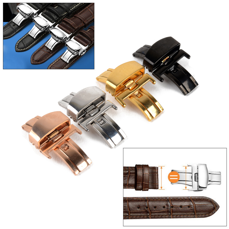 Butterfly Deployment Buckle Automatic Double Click Stainless Steel Clasp Strap For Watch Band 16mm20mm Watchband Clasp Rose Gold