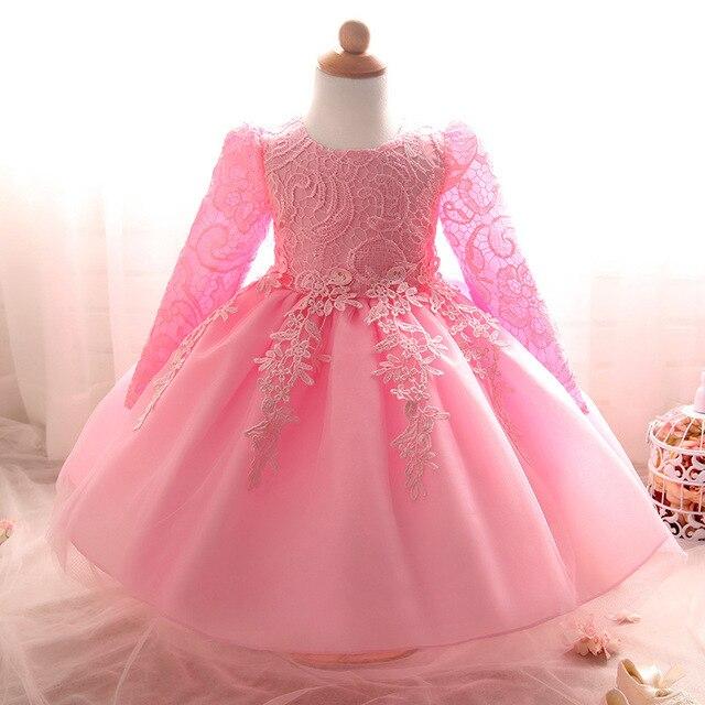 2016 New Baby Dress Длинным Рукавом 1 Год Рождения Dress Девочка Крещение Платья Младенческой Малыша Крещение Партия Свадебные Платья