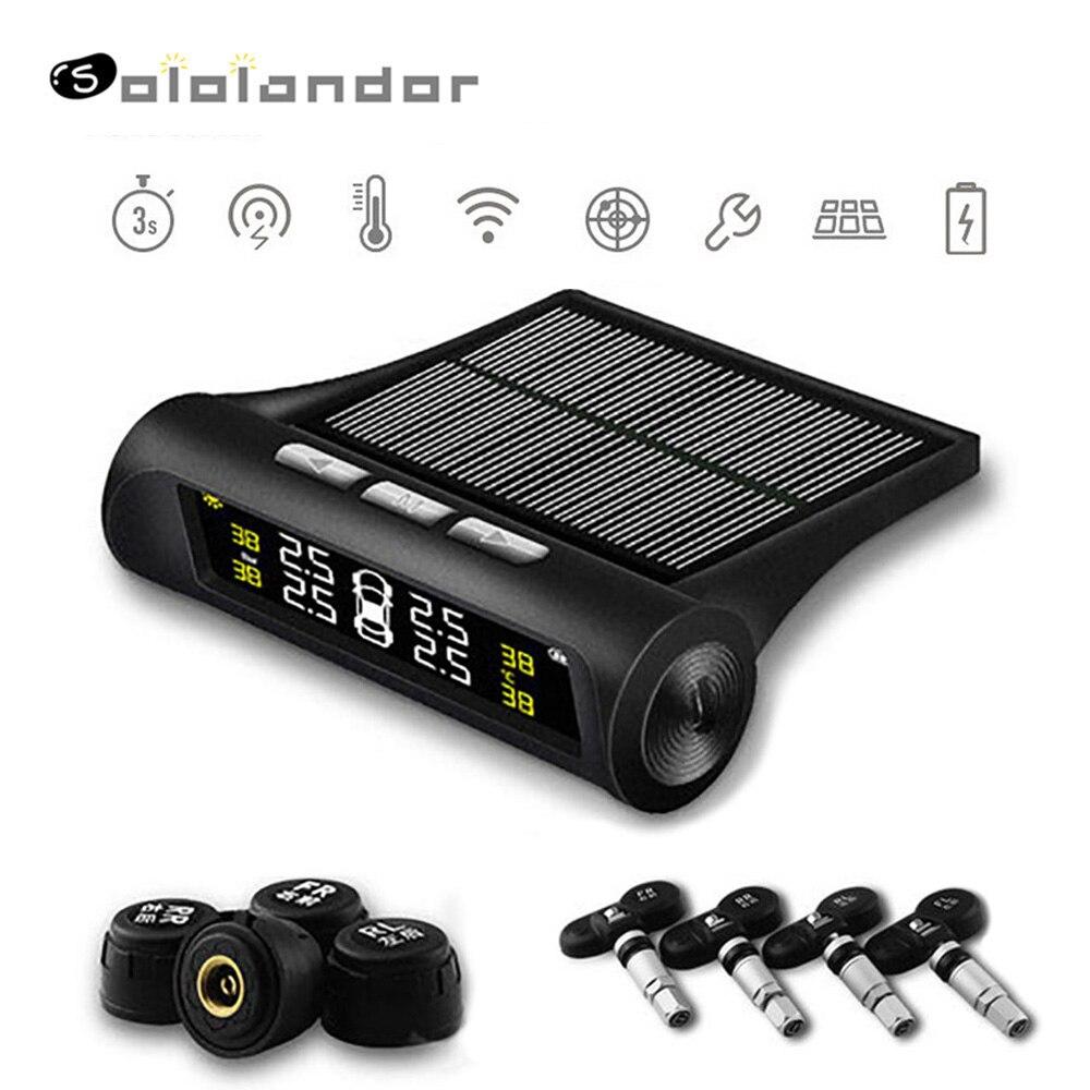 Car TPMS Tire Pressure Monitoring System Solar Power HD Digital LCD Display Auto Voice Alarm Tool Wireless 4 External Sensor