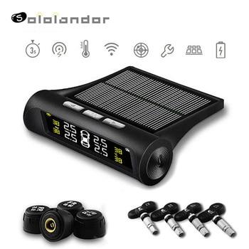 Car TPMS Tire Pressure Monitoring System Solar Power HD Digital LCD Display Auto Voice Alarm tool Wireless 4 external Sensor цена 2017