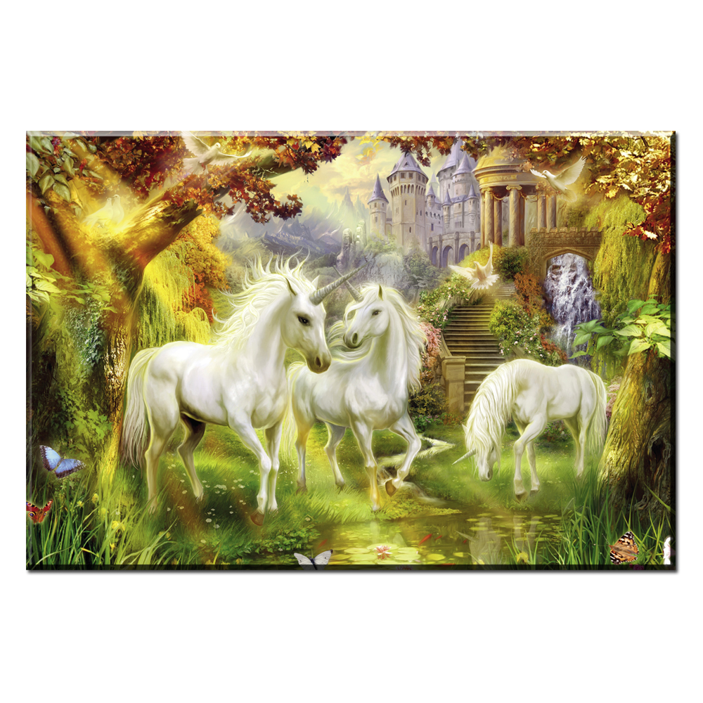 ZZ423 Thomas kinkade unicorn oil painting canvas pictures for home ...