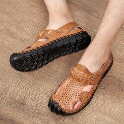 Cow Split Leather Sandals Men Clogs Shoes Mens Sandles Summer Slippers Garden Shoes Men New 2019 sandalias hombre