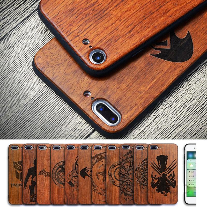 Lujo talla Capitán América coque funda de madera para iPhone 7 retro  Rosewood madera TPU funda para el iPhone 5S 6 7 más 8 8 más 68b888355ee