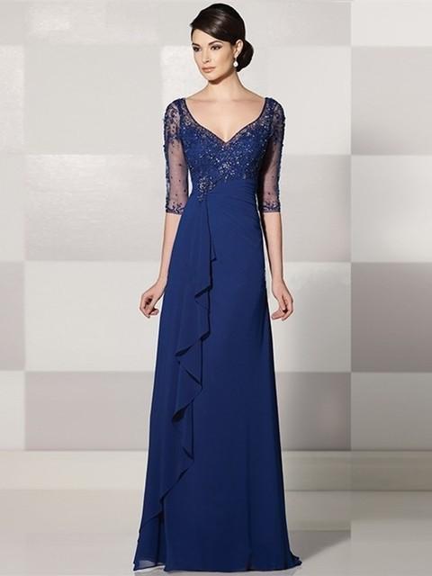 2017 mãe da noiva vestidos de renda vestidos de festa longo plissado drapeado plus size vestido de sexemara elegantes