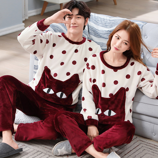 0b15b21930 Coral Fleece Pajamas For Lovers Pajama Winter Thick Warm Flannel Couple  Pajama Sets Cartoon Lovers Sleeping Clothes