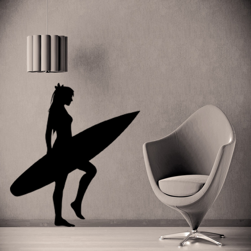 Home Supplies Unique Sitting Room Living Room Decorative Diy Wall Stickers Young Girl Beach Surfer Wall Decor Pvc Wallpaper