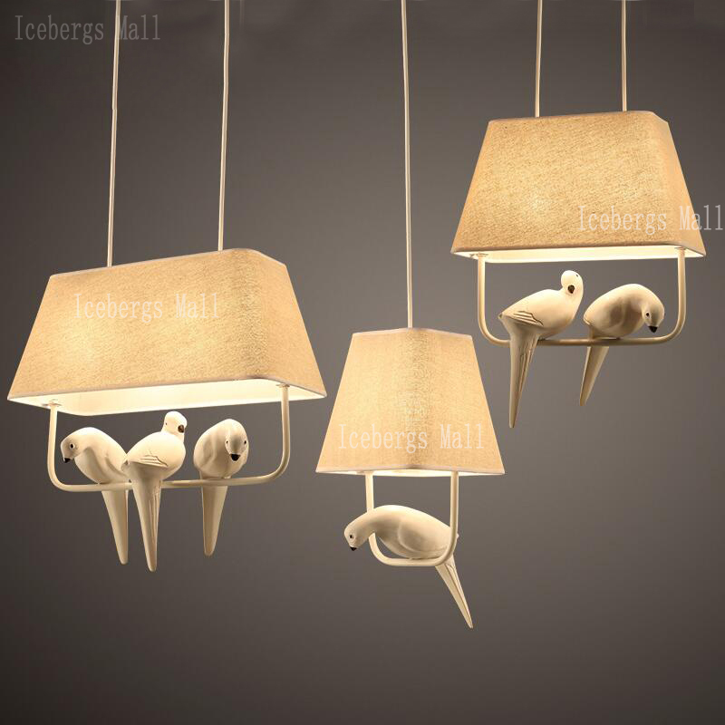 Nordic birds pendant lights modern resin bird lamp with fabric nordic birds pendant lights modern resin bird lamp with fabric lampshade for kitchen home lighting dining room kids bedroom lamp in pendant lights from mozeypictures Choice Image
