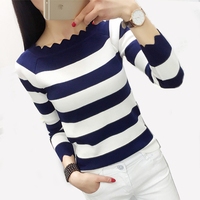 PEONFLY 2017 Ladies Pullover Female Long Sleeve Winter Sweater Women Jumper Striped Tricot Autumn Winter