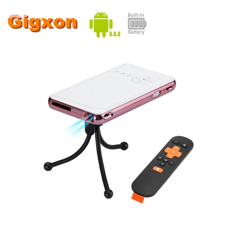 Gigxon Android 4.4.4 Mini Projector 4200mah battery DLP Technology portable 1080p 150 Lumen HDMI WiFi Quad Core CPU home use