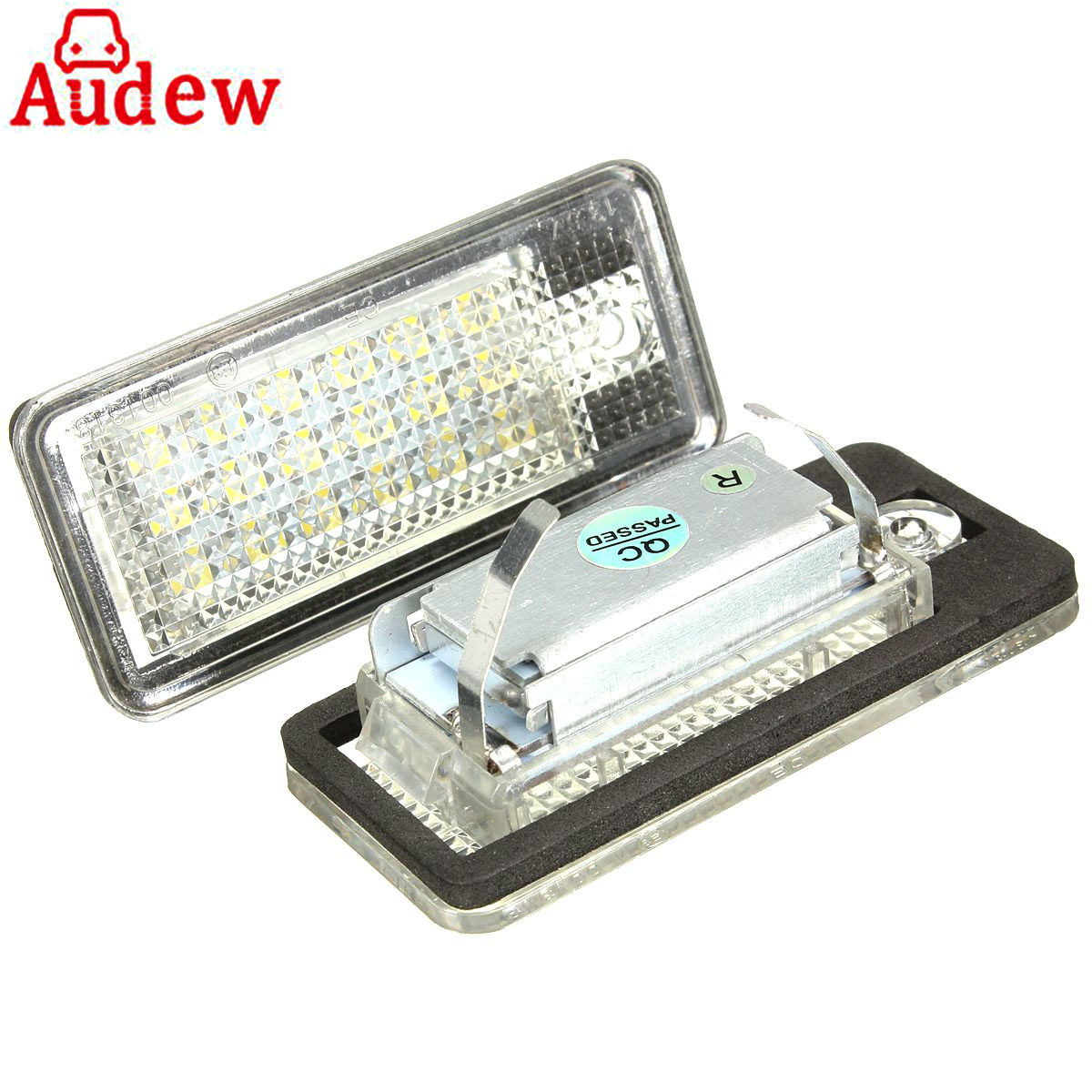 2Pcs Car Error Free 18 LED License Number Plate Light White Lamp For Audi A3 S3 A4 S4 B6 B7 A6 S6 A8 Q7 2pcs 12v white led license plate light number lamp for renault twingo clio megane lagane error free