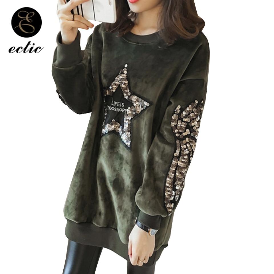Korean Oversized Pentagram Hoodie Dress Poleron Mujer 2019 Sequin Sweatshirt Long Sleeve Tunic Hoodie Women Wing Velour Pullover Свитшот