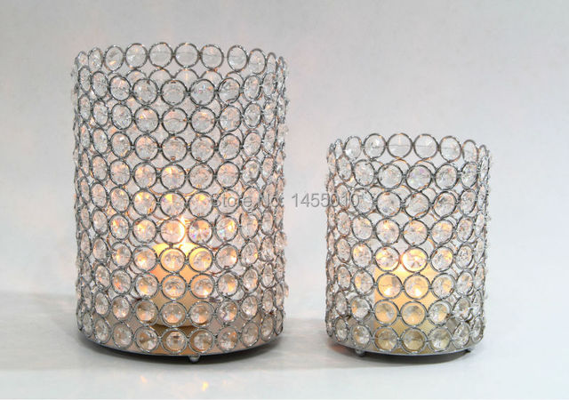 Crystal Beaded Bling Candle Holder For Wedding Decoration Hurricane Centerpieces Hwb