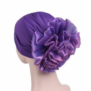 Image 4 - Helisopus New Woman Big Flower Turban Elastic Cloth Hair Bands Hat Chemo Beanie Ladies Muslim Scarf Hair Accessories
