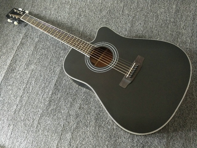 New Acoustic Guitar Cutaway All Solid Mahogany Wood 41 Inches Black Matte Free Shipping