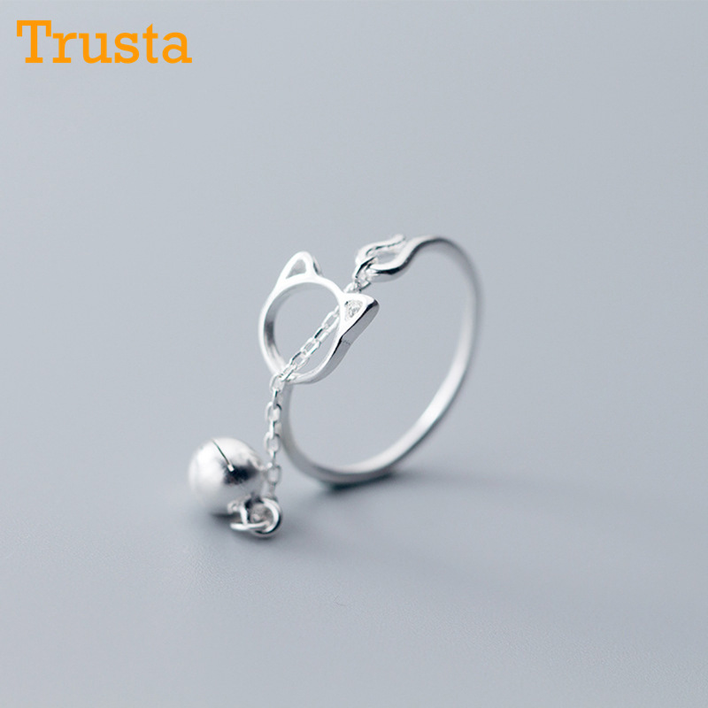 Trusta 100% 925 Solid Real Sterling Silver Cartoon Cat Bell Opening Ring 6 7 8 For Women Creative Cute Style Girl Jewelry DS1136