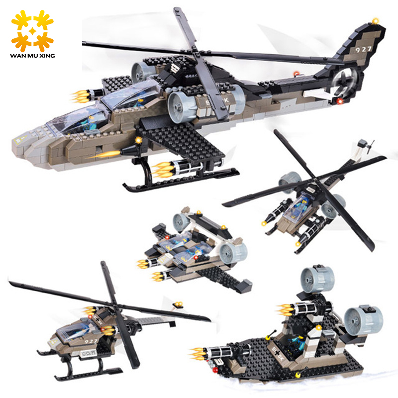 Military Series Apache Fighter Helicopter 5 In 1 Sets Building Blocks Enlightenment Toys For Children Educational Toy military modern wars diecast boeing ah 64 apache helicopter gunships can shoot alloy pull back toy with light