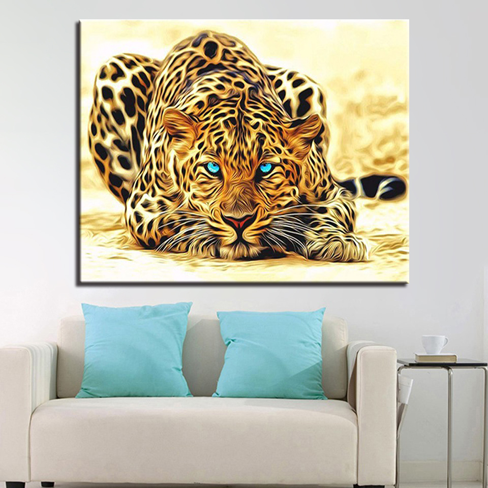 Leopard Bedroom Ideas For Painting: Modern Abstract Pictures Leopard Painting By Numbers Oil