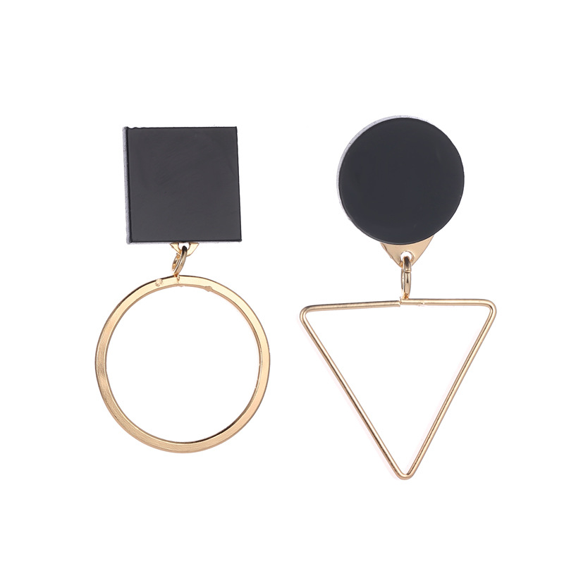 Asymmetric triangular circular combination earrings of Korean fashion AB earrings with irregular European and American styles in Drop Earrings from Jewelry Accessories