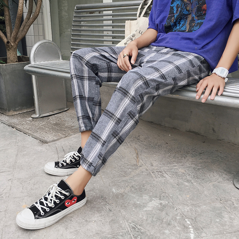 2018 Summer Lovers Original Easy Lattice The Wind In Hong Fashion Nine Part Pants Gray Favourite Recommend Free shipping